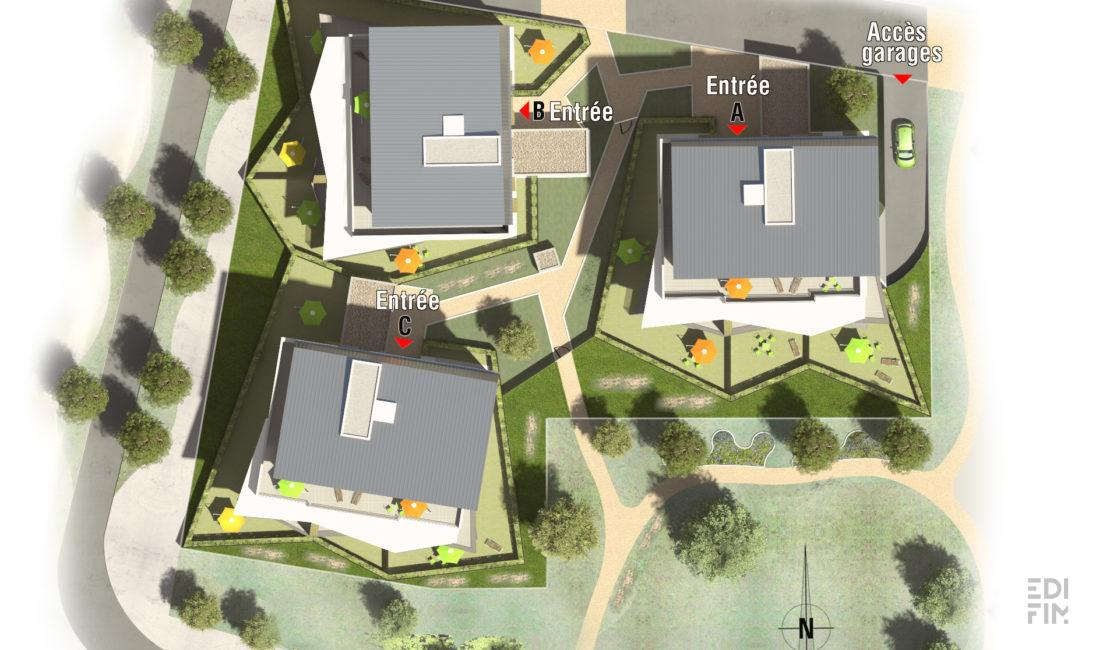 Plan Masse Résidence Domaine des Courtoises à Pont de Claix Programme Neuf Edifim